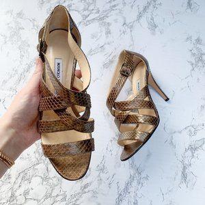 Manolo Blahnik Snakeskin Printed Strappy Sandals